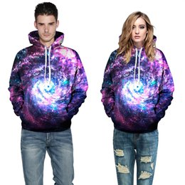 2016 NWT Autumn Winter 3D Galaxy Print Punk Fashion Sport Women Hoodies Coat With Hat Front Pocket Sweatshirts Hooded Pullovers