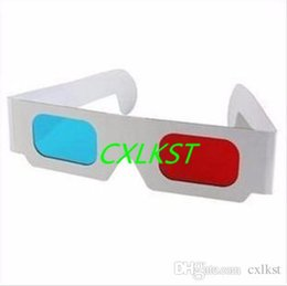 Wholesale Red Cyan D Paper Glasses Anaglyph DVD Blue Ray television movies pictures art Good Quality