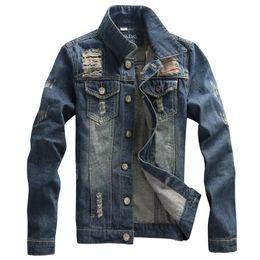 Veste en jean hommes de haute qualité de la mode Jeans vestes Ripped Holes Slim Fit vintage Mens veste et manteau en plein air Jeans vêtements à partir de mince vestes en denim ajustement fabricateur