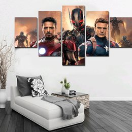 5 Panels Artwork Canvas The Iron Man Movie Painting Wall Art Canvas Paintings For Living Room Wall Cuadros Canvas Prints Photo No Frame