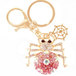 Wholesale Hot Beautiful Spider Web Insect Spyder Charm Pendent Crystal Purse Bag Keyring Key Chain Gift