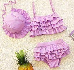 New Baby Girls Swimwear Kids 3pcs Swim Suit Ruffles Bikini Set Bathing Suit Children Swimsuit With Cap