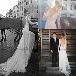 Wholesale 2016 Inbal Dror Vintage Inspired Max Lace Bohemain Beach Backless Wedding Dresses With Belt V neck Long Sleeve Boho Wedding Gown