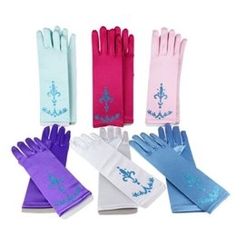 Wholesale Pretty Baby litter powder Girls Dress Gloves Child Kids Gloves Cosplay Fantasia Elsa Anna Cinderella Princess gloves