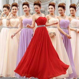 Strapless Long Chiffon Bridesmaid Dress With Crystal Pleats 2016 Floor Length Wedding Party Dress Lace Up