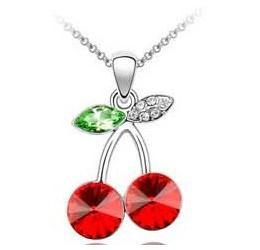 Wholesale JS N061 Red Cherry Necklace Austrian Crystal Jewelery Small Pendant Necklace Colares Women Accessories Christmas Gifts