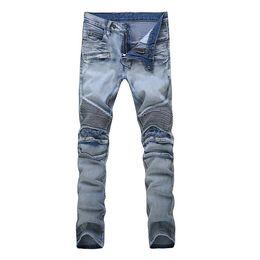 Wholesale Designer Brand Balmai Biker Jeans For Men Fashion Printed Slim Stretch Acid Light Blue Distressed Washed BALMAIED Jeans Plus Size