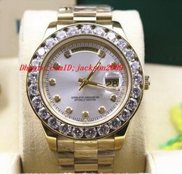 Wholesale Luxury Wristwatch k Yellow Gold Mens MM President Bigger Diamond Bezel Mechanical Men Watches Top Quality