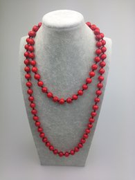 ST0003 10mm Red Turquoise 42 inch Knotted Long necklace with colored stone fashion women`s necklace handmade jewelry
