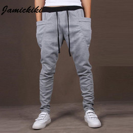 Wholesale Mens Sportswear Harem Pants High Quality Cotton Male Activities Side Pocket Drawstring Solid Color Trousers Homme Asian Size XXL
