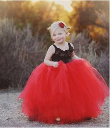 2016 Black Red Flower Girls' Dresses For Weddings Party Spaghetti Straps Hand Made Flowers Puffy Graduation Party Dress Little Girls Gowns