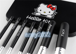 Wholesale Newest makeup brushes Hello Kitty mini brush pink kit Sets for eyeshadow blush Cosmetic Brushes Tool with metal box