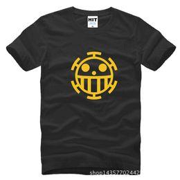 Wholesale One Piece Trafalgar Law T Shirts Men Cartoon T Shirt Casual Short Sleeve Cotton O neck Anime Law Logo T Shirt Tops SL