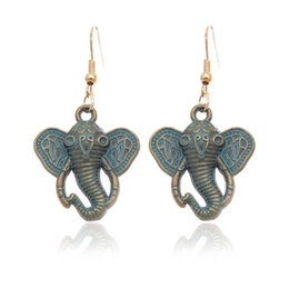 Wholesale 2016 Bohemian Ancient Ethnic Vintage Antique Bronze Green Drop Earrings Gipsy Punk Elephant Dangle Earrings for Women Jewelry Accessories