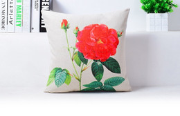 Big Red Grid Beauty Blossom Rose Art Painting Massager Decorative Pillow Case Cover Euro Pillows Emoji Home Decor Vintage Gift