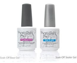 Wholesale Top quality Harmony gelish polish LED UV nail art gel TOP it off and Foundation bottles frence nails Top coat Base coat set