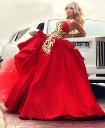 Red And Gold Applique Sweetheart Prom Dresses 2017 Satin And Tulle Ball Gown Evening Gowns Sexy Backless Saudi Arabic Formal Party Dresses