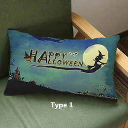 Halloween festival Cartoon Skull cat witch castle Ghost Skull fearful printed pillow Home Sofa linen cotton velvet cushion cover 45*45cm