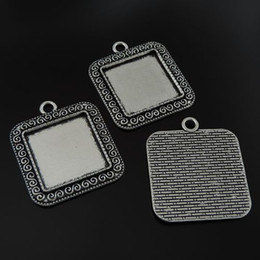 6pc Antiqued Silver Alloy Tone Square Cameo Bezel Pendant Charms Fashion Jewelry Making 39478 jewelry making