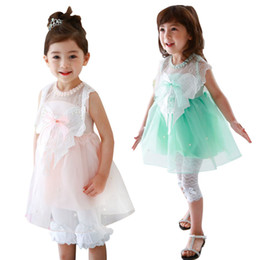 PrettyBaby 2016 summer 2 colors girls dress pink&green sleeveless hollow embroidered bow belt mesh girls dresses DHL free shipping
