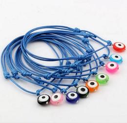 Malos encantos ojo azul en Línea-Caliente! 100 pcs color mezclado granos de acrílico de mal de ojo azul Charms cuerda de la cera de las pulseras ajustables