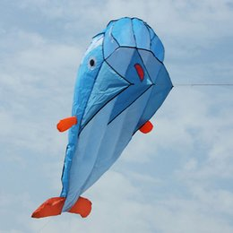 Wholesale 1Pcs D Huge Parafoil Dolphin Kite Kids Outdoor Fun Sport Square Beach Flying Toy Cute Dolphin Kite Easy to Fly x73cm K5BO