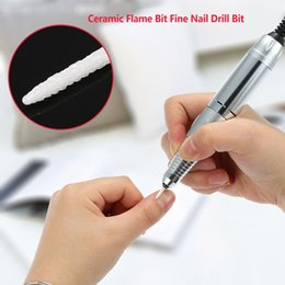 Wholesale White Ceramic Nail Drill Bit quot Professional Bits For Electric Nail Art Machine Cuspidal Grinding Stone Head Manicure Tools
