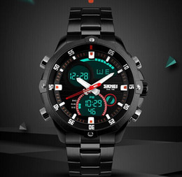 Men Wrist Glamor Model Multifunction Dual time Stainless Steel Strap Rotatable Outdoor Wrist Watch 3ATM Black 1146