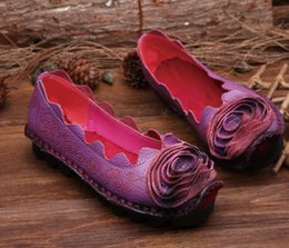 Hot selling 2016 Spring handmade new national wind round genuine leather shoes flat shoes Soft comfortable fashion casual shoes women flats