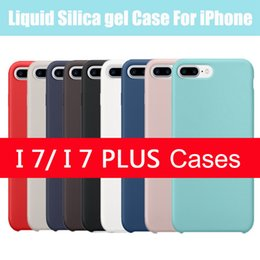Wholesale For iPhone iPhone7 Plus Case Liquid Silica Gal Case For iPhone Black Cover Case inner Soft Microfiber with Retail Packing Colors