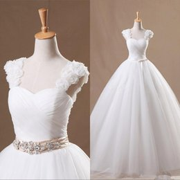 2016 Elegant White Wedding Dresses Beach Bows Ruffles A Line Floor length Bridal Gowns QA03