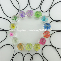 Wholesale 19710 Fashion Transparent Facted Ball Glass Dry Dried Flower Pendant Collar Necklace