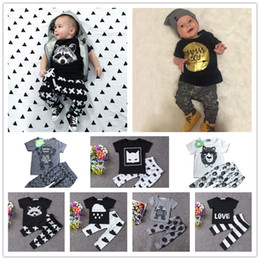 Wholesale 2016 New Summer Baby Clothing Set Colors Cartoon Monster Fox Printing t Shirt Pants Infant Clothes Set For Newborn Baby