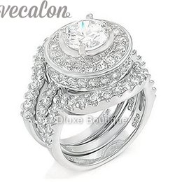 Vecalon fashion ring Simulated diamond Cz 3-in-1 Engagement Band Wedding Ring Set for Women 10KT White Gold Filled finger ring