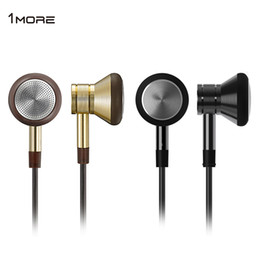 Wholesale 1MORE Super Bass Earphones mm Jack with Mic GOLDEN Volume Control Handsfree Talking m Cable On cord Control Only for Android