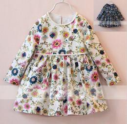 Wholesale 2016 Girls Autumn Long Sleeve Linen Princess Dresses with Bag Children European Fashion Pretty Floral Printed Dresses