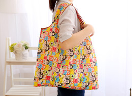 Wholesale New Fashion Foldable Waterproof Storage Eco Reusable Polyester Cartoon Shopping Tote Bags Quality shopping bags Carrier