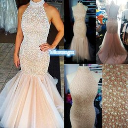 2019 New Halter High Neck Prom Dresses Long Coral Champagne Open Back Top Pearls Rhinestones Tulle Mermaid Party Evening Pageant Dress