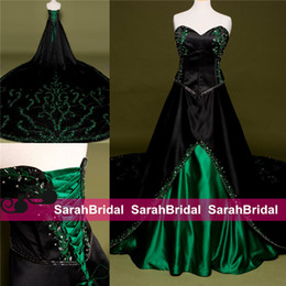 Wholesale Sexy Wedding Dress Costumes - Colored A Line Gothic Retro Vintage Wedding Dresses Black and Green Exquisite Embroidery Princess Ball Bridal Gowns Poison Ivy Style Costume