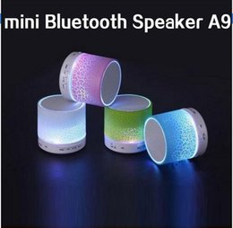 Wholesale Short delivery LED mini wireless bluetooth speaker A9 TF USB FM portable musical subwoofer loudspeakers hand free call for phone PC with Mic