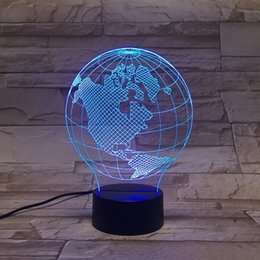 Wholesale 3D LED Lamp Lights earth form of D Color Art Sculpture American Optical Illusion LED D globe night lamp with touch button