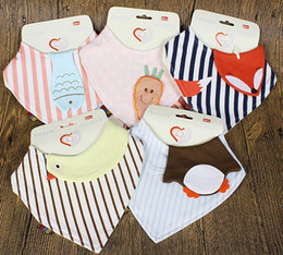Wholesale New Cotton Baby Bibs Newborn Girls Boys Burp Cloths Double Layer Cartoon Animal Towel Bandanas Chrismas Gifts With Exquisite Package