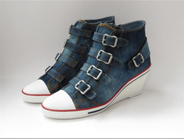 Wholesale Hot Products Ash Shoes Genialbis Buckled Wedge Sneakers Blue Denim On Hot Sale High Top Canvas Tide Women Shoes Size