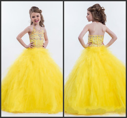 Fashion Pageant Gowns For Teens Crystals Beadings Beaded Halter Yellow Charming Sleeveless Ball Gown Girls Ball Dresses Sleeveless Cute