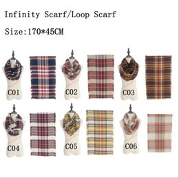 Wholesale Women Plaids Infinity Scarves Grid Loop Scarf Blankets Tartan Oversized Check Shawl Lattice Wraps Fashion Fringed Cashmere Pashmina B1116