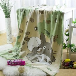Wholesale 140x100cm Original soft My Neighborhood Totoro blanket plush kids coral fleece throw blanket travel bed sheet quilt sofa gift birthday