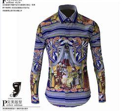 Wholesale 2016 New Mens Designer Brand spring full sleeve Shirt Men s Slim Fit Shirts For Men print sripe big size Clothing