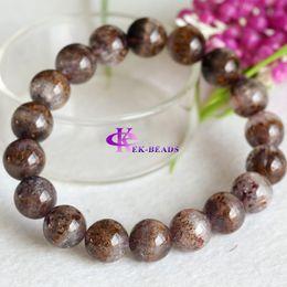Natural Genuine Brown Purple Titanium Cacoxenite Finish Stretch Men Bracelet Round Big Beads Gemstones 11.5mm 04293