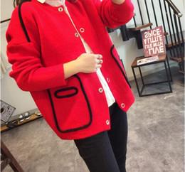 Promotion manteau pull à manches 2016 nouveau manteau de chandail à manches longues chandails cardigans occasionnels mode femmes veste manteau femme ciel rouge kaki bleu