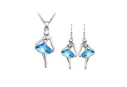 Fashion Girl Statement Necklaces Jewelry Sets Crystal Dancing girl Necklace Earrings Alloy Jewelry Sets 3 colors A06-B47